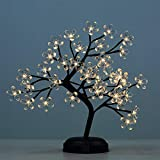 LIGHTSHARE 18-inch Crystal Flower LED Bonsai Tree, Warm White,Desk Table Decor 36 LED Lights, Battery Powered or DC Adapter(Included), Built-in Timer
