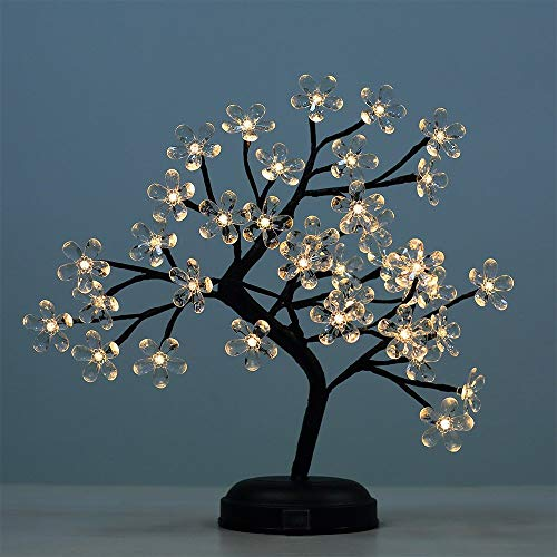 Lightshare New 18Inch 36LED Acrylic Blossom Bonsai Light,Clear Acrylic Flower,Green Leaf,Battery Powered for Home Decoration