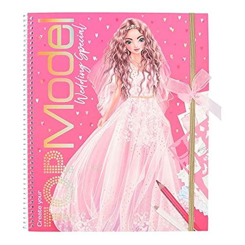 Depesche 11491 Create Your TOPModel Wedding Special Malbuch, 60 Seiten inkl. Sticker zum Gestalten Traumhafter Hochzeits-Kleider, ca. 28 x 23,7 x 1,5 cm, bunt