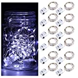 DLISITING 12 Pack Fairy String Lights with 3 Flashing Modes 7 ft 20 LED Mini Novelty Waterproof Copper Wire Starry Firefly Lights Battery Operated (Included) for DIY Wedding Party (Cool White)