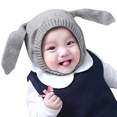 DORRISO Enfant Casquette Tomber Hiver Garçon Fille Bébé Naissance Mignonne Petit Pompon Oreille de Lapin Chapeaux 0-3 Ans