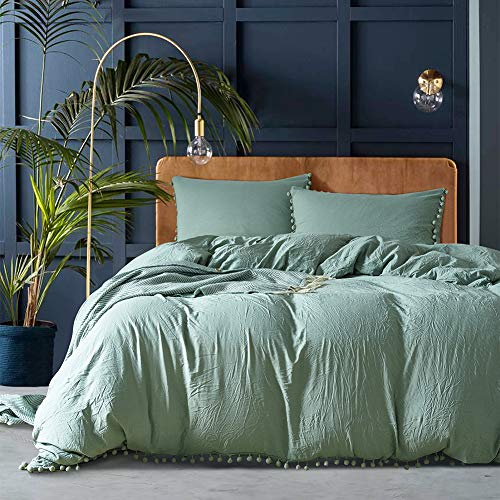 Luofanfei 3 Pieces Green Duvet Cover Set Ball Fringe Design,1 Comforter Cover with 2 Hanging Pompoms Pillow Cases Soft Washed Microfiber Solid Color Bedding Set Double Size