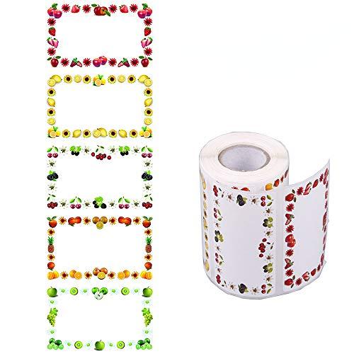 200 Pezzi Jam Adesivi Autoadesivi, rotolo 65 x 40 mm, lunghezza totale 8,4 m, etichette per uso domestico, etichette per congelatore, adesivi per cucina, confetture regalo
