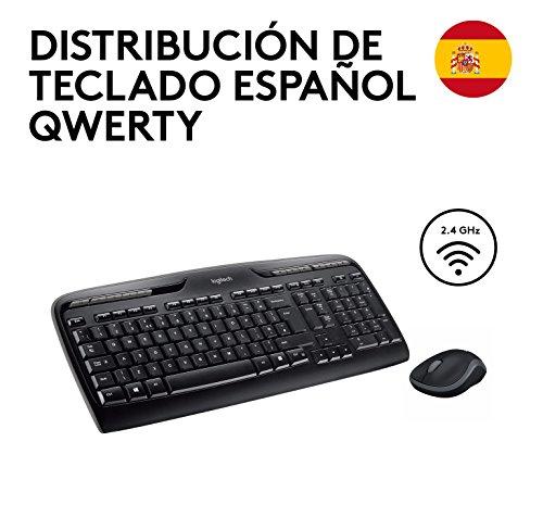 Logitech MK330 Kabelloses Tastatur-Maus-Set, 2.4 GHz Verbindung via Unifying USB-Empfänger, 4 programmierbare G-Tasten, 12 bis 24-Monate Batterielaufzeit, PC/Laptop, Spanisches QWERTY-Layout - schwarz
