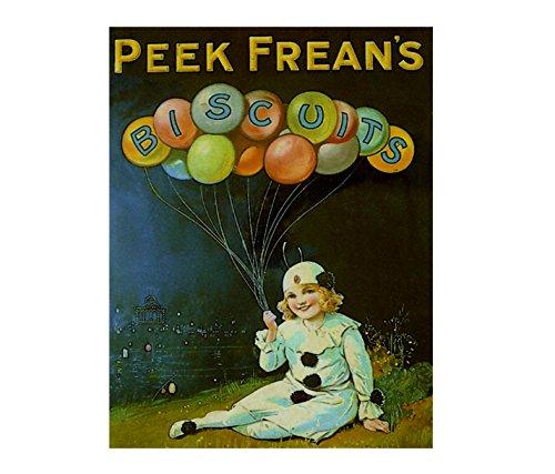 Peek Frean 's Biscuits Kind Clown Luftballons Retro Shabby Chic Vintage-Stil Bild Metall Wandschild Schild (200mm x 150mm)