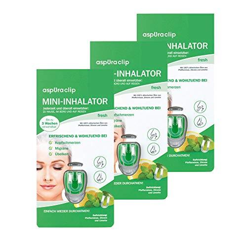 aspUraclip Mini-Inhalator fresh (3er Pack) | Erster Mini-Inhalator für die Nase | Mit Ölen aus Pfefferminze, Zitrone & Limette | Erfrischend und wohltuend bei Kopfschmerzen, Migräne, oder Übelkeit