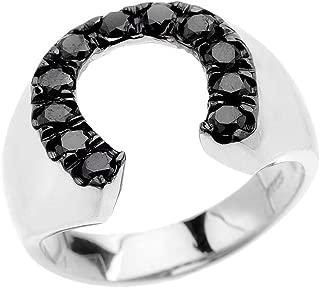 Men's 10k White Gold Black Diamond Horseshoe Good Luck Ring