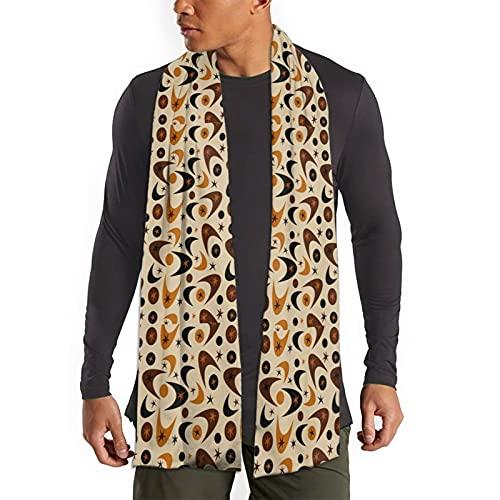 Sciarpa invernale per le donne e gli uomini morbidi e caldi grandi sciarpe di lusso stampato sciarpa avvolge, Boomerang Marrone Metà Secolo Nero, Taglia unica