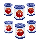 YYSY Filtro para piscina Bestway tipo I, reemplaza los cartuchos de filtro de tamaño 1 para Bestway, Whirlpool o spa, repuesto de filtro de limpieza de piscina hinchable (6 unidades)
