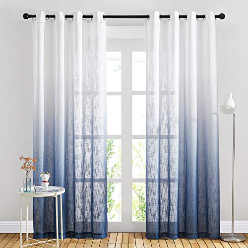 NICETOWN Linen Sheer Ombre Curtains for Living Room, Grommet Special Gradient Semi Sheer Vertical Window Treatments Privacy with Light for Children Room, Navy Blue, W50 x L84, Set of 2