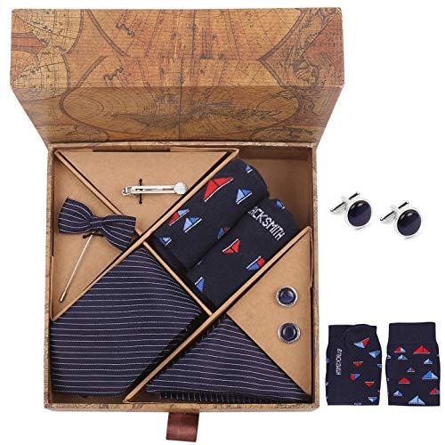 Blacksmith Tie , Cufflink , Pocket Square , Lapel Pin , Tie Clip , Socks Set of 6 for Men [ Free Size ] Navy Blue Stripes
