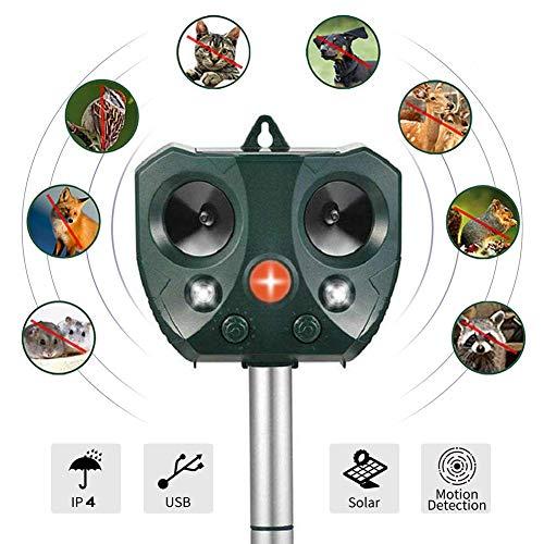 CHUTD Répulsif ultrasonique pour Animaux, Répulsif pour Animaux imperméable à l'eau à ultrasons, Lampes Clignotantes et Répulsif extérieur réglable activé par Le Mouvement d'alarme sonore pour cha