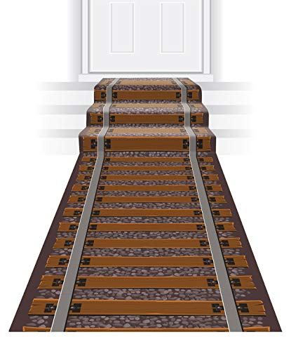 Beistle Novelty Printed Polyester Fabric Railroad Track Aisle Runner for Western Theme Birthday Christmas Party Supplies, 24' x 10', Brown/Gray