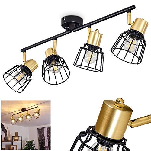 Lámpara de techo Kesao de metal en negro/oro, 4 focos, estilo retro, 4 bombillas E14, máx. 40 W, cabezales de lámpara se pueden girar e inclinar