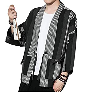 Generic Men's Cotton Linen Kimono Cardigan Jacket Vintage Open Front Coat
