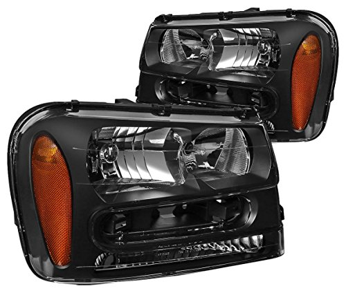 DNA MOTORING HL-OH-TRA02-BK-AM Headlight Assembly, Driver and Passenger Side,Black amber