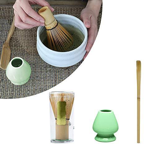 Matcha Making Tool Set, SUNJULY Bambus Teebesen Teeschaufel Keramik Teebesenhalter 100% Naturmaterial Professionell für traditionelle japanische Teezeremonie (Cyan)