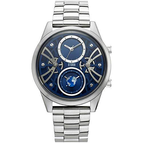 STORM London Globe-X Blue, Herrenuhr, Dual-Time Funktion, 5 bar Wasserdicht, Edelstahlgehäuse, Mineralglas, 47441/B