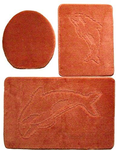 Ilkadim 3- teilig Badgarnitur 60x100cm, Badset Delphin Hänge-WC Badematten Badteppich (terrakotta)