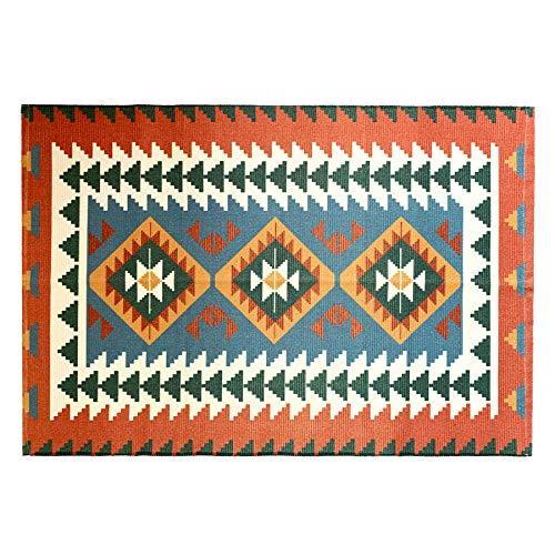 Ukeler Bohemian Rugs 2'×3'- Cotton Printed Kilim Rug Hand Woven Washable Indoor Outdoor Doormat Farmhouse Decor