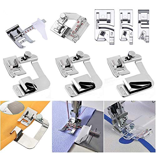 Windman Sewing Hemming Set Includes 3Pcs Wide Hem Foot,3Pcs Narrow Rolled Hem Presser Feet,Bias Tape Binder Foot and Adjustable Guide Presser Foot for Brother Singer Janome Low Shank Sewing Machine