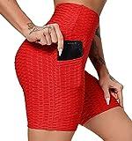 FITTOO Pantalones Cortos Deportivo Mallas Leggings Mujers Yoga Alta Cintura Elásticos Rojo M