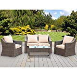 Stamo 5 Piece Outdoor Patio Furniture Sofa Sets, All Weather PE Rattan Wicker Cushioned Sectional Sofa Chairs with Glass Table, Coffee