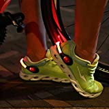 ZKZNsmart LED Shoes Clip Safety Lights, USB Rechargeable, Color Steady and Flash Modes and on/Off, Suitable for Running, Jogging, Walking, or Biking in The Dark (Red, Pack of 2)