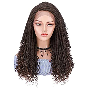Dreadlock Wigs for Black Women Goddess Curly Braids Faux Locs Crochet Twisted Braided Wig Synthetic Hair Twist Dreads Braid Wig With Baby Hair C Part Hairline 25inch Long Black Mix Light Auburn