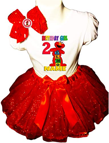 Elmo Birthday Party Dress 2nd Birthday Red Tutu Outfit Shirt