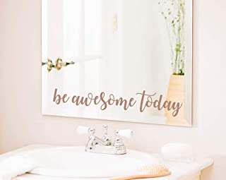 TOARTi Be Awesome Today Quote Mirror Sticker, Motivational Lettering Saying Quotes for Office Wall Decal, Positive Mirror Laptop Sticker Home Wall Art, Brown Gold