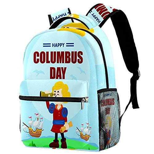 Staroutah zaino bookbag daypack borsa da scuola escursionismo Zaino per laptop casual Alta capacità e outdoor Imparacartone animato di Christopher Columbus per donne e uomini