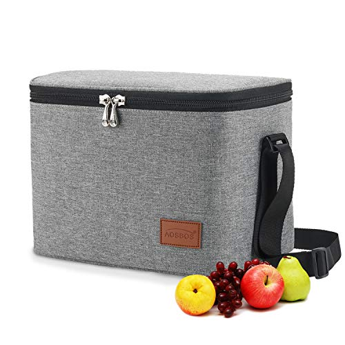 AOSBOS Lunch Bag Insulated Lunch Box for Men Women, Leakproof Lunch Tote Bags Reusable Lunch Cooler with Shoulder Strap Adult Thermal Lunch Boxes Lunch Pail Meal Prep Container for Work Office Outdoor
