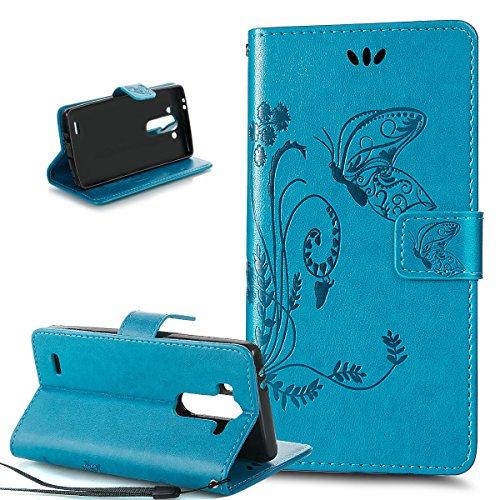 ikasus Compatible avec Coque LG G3 S/G3 MINI/G3 Beat Etui,Motif Gaufrage Art Fleur Papillon Housse Cuir PU Etui Portefeuille supporter Flip Case Etui Housse Coque pour LG G3 S/G3 MINI/G3 Beat,Bleu