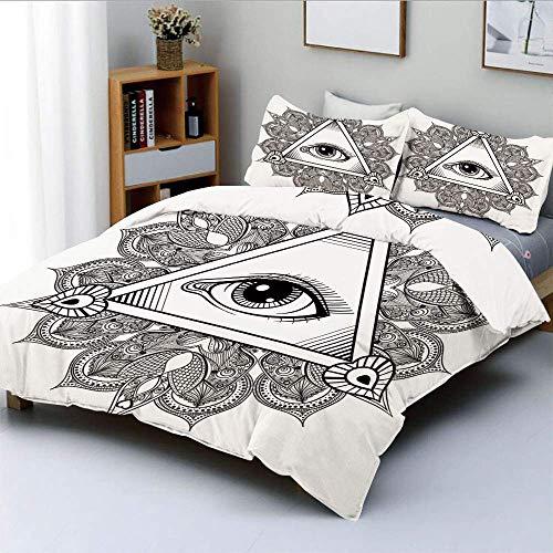 Juego de funda nórdica, símbolo vintage de tatuaje de ojo que todo lo ve con mandala boho, providencia, espíritu, ocultismo, juego de cama decorativo de 3 piezas con 2 fundas de almohada, blanco negro