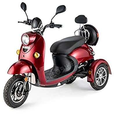 VELECO 3 Wheeled Retro Style Electric Mobility Scooter 650W ZT63 (Red)
