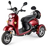 Elegante Retro Scooter Electrico 3 ruedas adulto Movilidad Reducida Minusválido para Mayores Vespa Recreativo 650W 25 km/h...