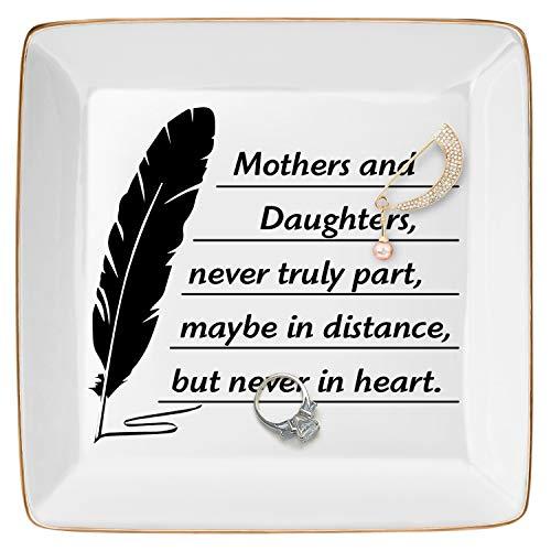 DOIOWN Bandejas de joyería para regalo para mamá, cumpleaños, día de Acción de Gracias, madres e hijas, nunca se parte, tal vez a distancia, pero nunca en el corazón (regalo de madre de hija)