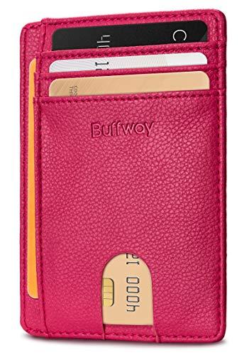 Buffway Slim Minimalist Front Pocket RFID Blocking Leather Wallets for Men Women - Lichee Red