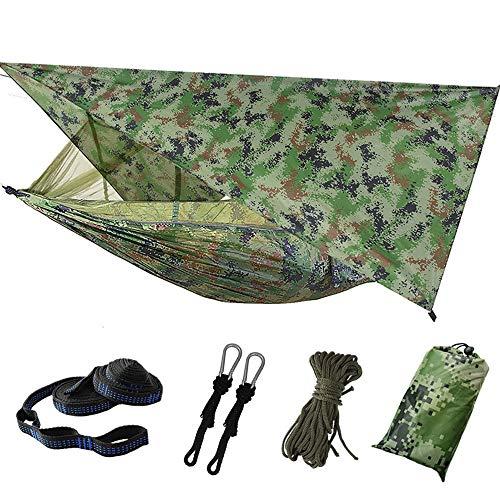 Dyna-Living Hängematte Outdoor, Ultraleichte Moskito Netz Camping Hangematten Outdoor mit Sonnenschutz, Hängematte 2 Personen 200kg Tragfähigkeit (260 x 140 cm) - Camouflage