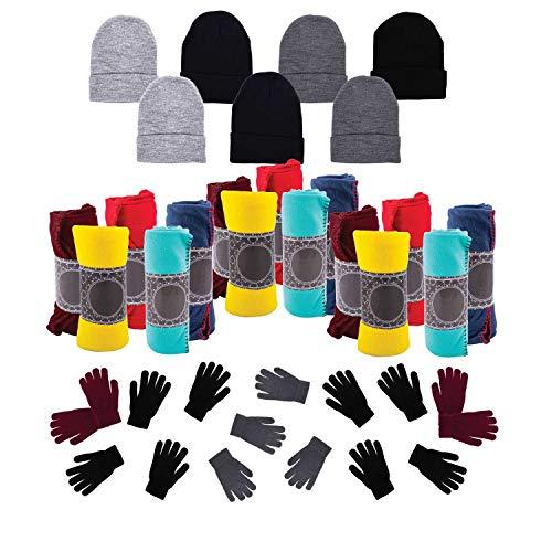 12 Winter Throw Bulk Blankets, 12 Bulk Glove Pairs, 12 Wholesale Beanies - Homeless Care Packages