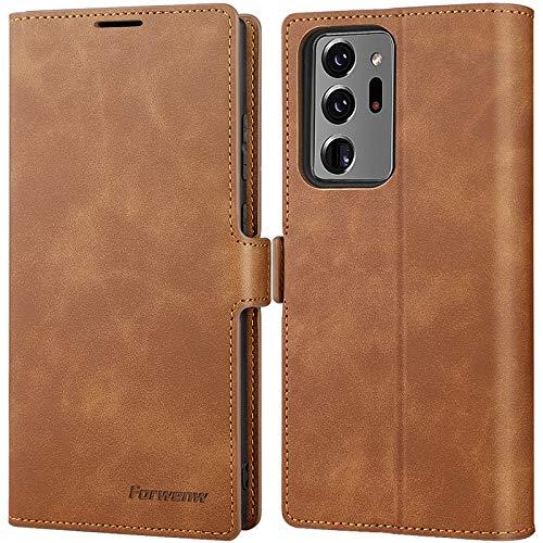SUZCY Samsung Galaxy Note 20 Ultra Hülle, Handyhülle Samsung Note 20 Ultra [3-Kartenfächer] PU Leder Flip Hülle Note 20 Ultra [Magnetverschluss] [Standfunktion] Note 20 Ultra Tasche 6,9'' Braun