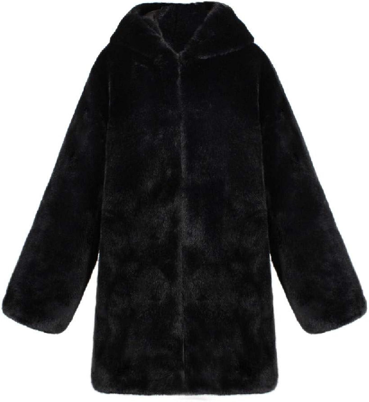 Jacket Women's Fleece Hooded Faux Fur Coats Teddy Bear Trench Long Sleeve Casual Warm Outerwear Tops