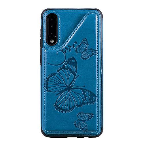 Bear Village Galaxy A50 Hülle, Kratzfeste PU Leder Brieftasche Schutzhülle mit Kartenfach & Standfunktion Kompatibel mit Samsung Galaxy A50, Blau