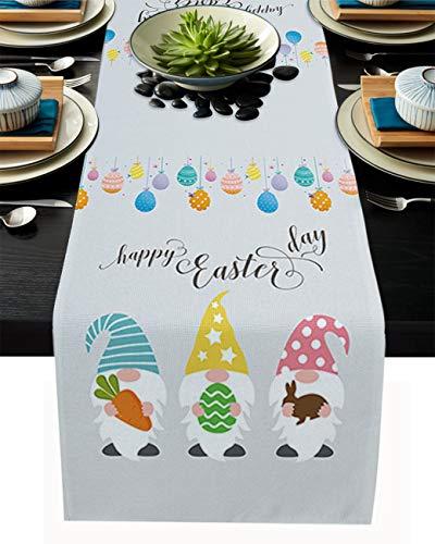 Easter Table Runner Easter Eggs Gnomes Dresser Scarves Carrot Bunny Rabbit Non-Slip Runner Tablecloth for Happy Easter Spring Holiday Dinner Parties Home Decor 13x70inch