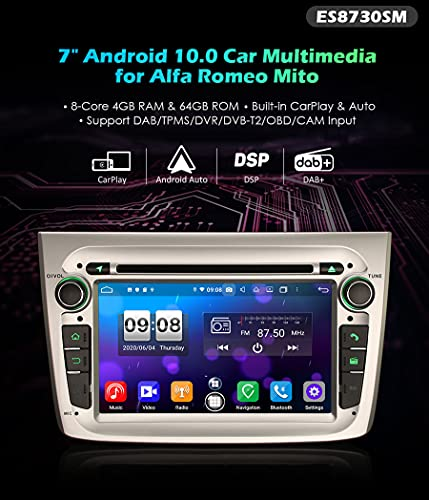 Autoradio Erisin ES8730SM 7' 8-Core 6Android 10.0 DVD DSP GPS per Alfa Romeo Mito