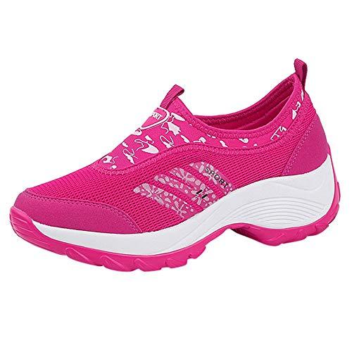 Qmber Damen Sportschuhe Dämpfung Laufschuhe Running Wanderschuhe Trekking Schuhe Sports Outdoor Hiking Sneaker/HP,37