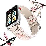 X-Cool Apple Watch Bracelet 38mm 40mm Blanc Fleur de Prunier Cuir Bracelet de...