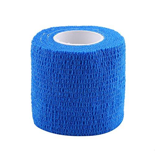 5 Rollen/Set selbstklebendes Bandageband, wasserdicht, haftende Stick-Bandage, selbsthaftende Rolle, Stretch-Tape für Knöchelverstauchungen und Schwellungen (blau)