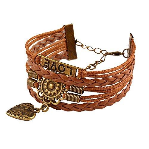 Onefeart Unedles Metall Armband Bangle Für Frauen Mädchen Retro Stil Mehrschichtig Geflochten Design Braun
